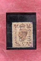 GREAT BRITAIN GRAN BRETAGNA 1937 1939 KING GEOGE VI PERFIN 5p USATO USED OBLITERE' - Usati