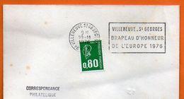 94 VILLENEUVE ST GEORGES   DRAPEAU D'HONNEUR   1976 Lettre Entière N° JJ 901 - Annullamenti Meccanici (pubblicitari)