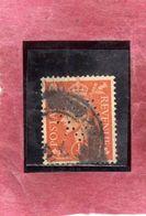 GREAT BRITAIN GRAN BRETAGNA 1950 1951 KING GEOGE VI PERFIN 1/2p HALF PENCE USATO USED OBLITERE' - Usati