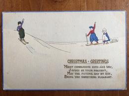 (ski, Christmas) Skieurs En Sabots, Vers 1910, TBE. - Sports D'hiver