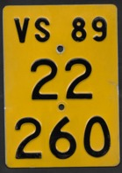 Velonummer Mofanummer Wallis Valais VS 89 - Number Plates