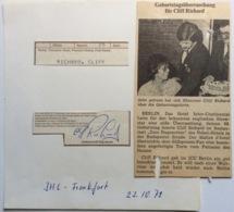 CLIFF RICHARD English Popstar Autograph Frankfurt Concert Oct. 1979 (autographe Musique - Autographs