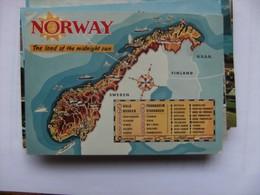 Noorwegen Norway Norge Country Map - Noorwegen