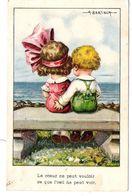 Illustrateur BERTIGLIA Enfants Amoureux Sur Un Banc Main Sur Les Fesses - Bertiglia, A.