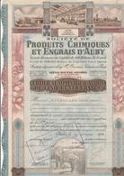 CERTIFICAT ILLUSTRE D'ACTIONS DE 500 FRS - PRODUITS CHIMIQUES ET ENGRAIS D'AUBY - ANNEE 1942 - Agriculture