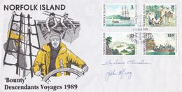 Norfolk Island 1989 Bounty Descendants Voyages Souvenir Cover, Signed.This Is Cover 1949 - Norfolk Island