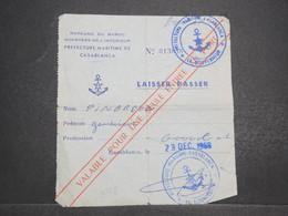 MAROC - Laissez Passer Pour Une Entrée Au Port De Casablanca En 1968 - L 14690 - Collections