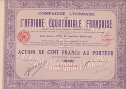 LOT DE 5 ACTIONS DE 100 FRS - COMPAGNIE LYONNAISE DE L'AFRIQUE EQUATORIALE FRANCAISE -1928 - Afrika