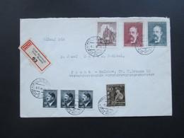 Böhmen Und Mähren 1945 MiF Einschreiben Groß - Meseritsch Velke Mezirici 63 Nach Prag! Mit Siegel! - Briefe U. Dokumente