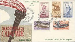 ENVELOPPE D'ITALIE AVEC 5 TIMBRES ET CACHET XVII OLYMPIADE CEREMONIE D'OUVERTURE - Estate 1960: Roma