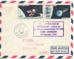 Cachet Première Liaison Air France Paris - Changhai 19 Septembre 1966 - Marcophilie (Lettres)