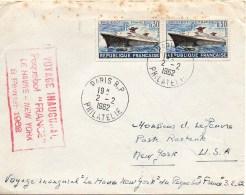 "Cachet Du Voyage Inaugural Du Paquebot "" FRANCE"" Le Havre - New-York 3 Février 1962 - Storia Postale"