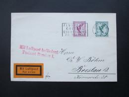 DR Flugpost Stempel R4 Flugplatz Cottbus Einweihung 26.Mai 1927. Mit Luftpost Befördert Postamt Breslau 1. Mit Inhalt! - Briefe U. Dokumente