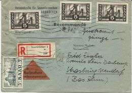 LETTRE RECOMMANDEE - CONTRE REMBOURSEMENT AVEC 4 TIMBRES - 1947-56 Occupation Alliée