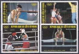Elfenbeinküste Ivory Coast Cote D'Ivoire 1988 Sport Spiele Olympia Olympics Seoul Handball Boxen Turnen, Mi. 970-3 ** - Côte D'Ivoire (1960-...)