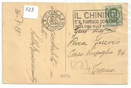Italia 023, 1928, Quinina, Malaria, Medicina - Storia Postale