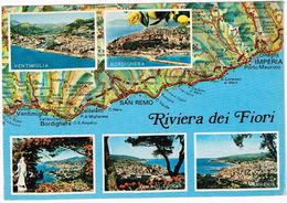 V2327 Riviera Dei Fiori - Carta Geografica Map Carte Geographique / Viaggiata 1987 - Carte Geografiche