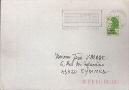 """Curiosité 33 Mérignac Flamme =o Sur Timbre 1,80 Liberté Vert Surchargé """"St Pierre Et Miquelon"""" - Curiosidades: 1980-89 Usados"""