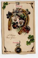MECHANICAL CALENDAR, Happy New Year, Pre-1920 PFB Postcard - New Year