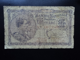 BELGIQUE : 1 FRANC  26.09.1920   P 92   B+ / VG+ - [ 2] 1831-... : Belgian Kingdom