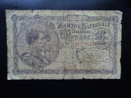 BELGIQUE : 1 FRANC  26.09.1920   P 92   B+ - [ 2] 1831-... : Regno Del Belgio