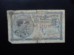 BELGIQUE : 1 FRANC  17.11.1920   P 92   B / VG - [ 2] 1831-... : Belgian Kingdom