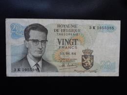 BELGIQUE : 20 FRANCS  15.6.1964  P 138  Signature 19  TTB / VF - [ 6] Treasury