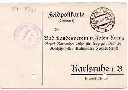 Tarjeta  Con  Franquicia Militar  Regimiento De Granaderos Del Rey De Baden Nº 109 . Año 1918 - Cartas