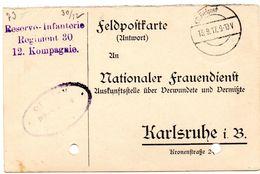 Tarjeta  Con  Franquicia Militar  Regimiento De Infanteria De Reserva Nº 30. 12 Compañia . Año 1917 - Cartas