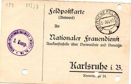 Tarjeta  Con  Franquicia Militar  Regimiento De Infanteria De Reserva Nº 110.  3 Compañia . Año 1917 - Cartas