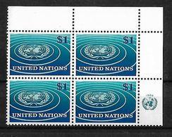 Naciones Unidas Oficina De Nueva York 1966 Emblema De La ONU Bloque De 4 Sellos - Nuevos