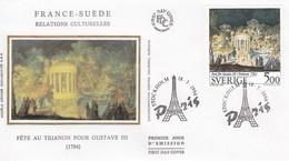 FRANCE - FDC SOIE -VERSION SUEDE - FÊTE AU TRIANON -FRANCE SUEDE RELATIONS CULTURELLES - CACHET STOCKHOLM 18.3.1994   /2 - FDC