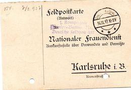 Tarjeta  Con  Franquicia Militar  Compañia Batallon De Zapadores Nº 7 Correo Militar Aleman 937 . Año 1917 - Cartas