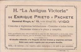 "H.""LA ANTIGUA VICTORIA"", ENRIQUE PRIETO Y PACHETE. GENERAL RIEGO NRO 13, VIGO. SPAIN HOTEL ADVERTISING.-TBE-BLEUP - Advertising"