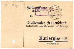 Tarjeta  Con  Franquicia Militar  1 Compañia Bad. Leib-gren. Regimiento Nº 109  . Año 1918 - Cartas