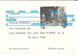 51 EPERNAY Champagne 28 Avenue J Jaures Naissance Et Portrait De Pierre BARBIER 26 Mars 1948 Francoise Anne Solange - Naissance & Baptême