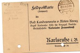 Tarjeta  Con  Franquicia Militar   Regimiento De Infanteria Sachfen Nº 94- 9 Compañia . Año 1918 - Cartas