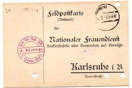 Tarjeta  Con  Franquicia Militar   Reserva De Infanteria Regimiento 109 -4 Compañia . Año 1917 - Cartas