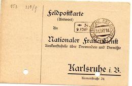 Tarjeta  Con  Franquicia Militar  S.B. 9 Compañia . Año 1918 - Cartas