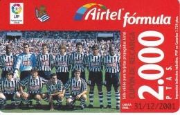 ACR-070 TARJETA DE AIRTEL DEL EQUIPO DE FUTBOL REAL SOCIEDAD 2000 PTAS (FOOTBALL) - Espagne