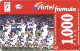 ACR-067 TARJETA DE AIRTEL DEL EQUIPO DE FUTBOL ALAVES 1000 PTAS (FOOTBALL) - Espagne