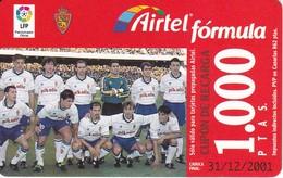 TARJETA DE AIRTEL DEL EQUIPO DE FUTBOL ZARAGOZA DE 1000 PTAS (FOOTBALL) - Spain