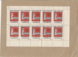 ERINNOPHILIE - PONTARLIER 1936 - Foire Exposition - Feuillet Complet De 10 - BANNELLI - TRES RARE - Erinnophilie