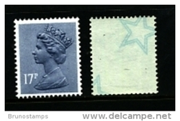 GREAT BRITAIN - 1985  MACHIN   17p.  STARS  MINT NH  SG X909Eu - 1952-.... (Elisabeth II.)