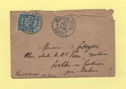 Toury - Eure Et Loir - Obliterations Bleue - 5 Mai 1893 - Type Sage - 1877-1920: Période Semi Moderne