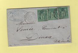 Rennes - Ille Et Vilaine - 1879 - Fabrique De Bougies Chandelles - Type Sage - 1877-1920: Période Semi Moderne