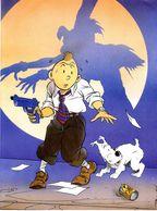 HOMMAGE A HERGE  TINTIN   PLANCHE SIGNE D SAUMONT 1997 - Books, Magazines, Comics