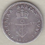 British West Indies, Antilles Britanniques. 1/16 Dollar 1822. George IV, Argent. KM# 1 - Antilles