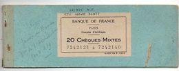 Chequier Avec 20 Chèques Mixtes Banque De France Contenant La Souche De 19 Chèques Et 1 Chèque Entier De 1948 - Cheques & Traveler's Cheques