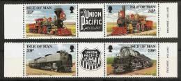ISLE Of MAN 1992 - FIRST TRANSCONTINENTAL RAILROAD / Union Pacific - 2x3-strip Mi 512-514 MNH ** Cv€6,50 N226a - Man (Insel)